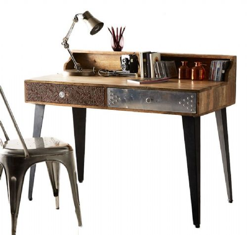 Soriano 2 Drawer Desk with Upstand Shelf